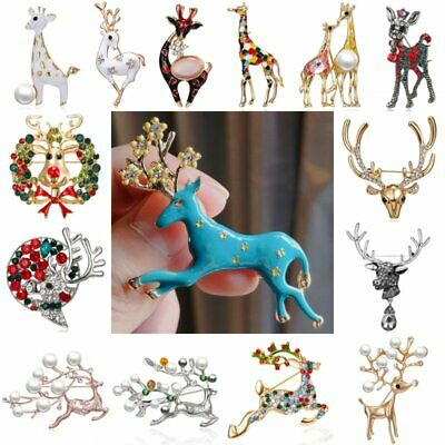 Christmas Sika Deer Animal Crystal Pearl Brooch Pins Enamel Xmas Party Jewelry