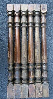 "6 Oak Victorian Wood Stair Porch Spindles Balusters Antique 24 1/4"" high"