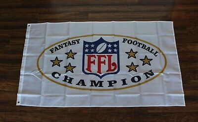 Fantasy Football League Banner Flag FFL Champions Trophy Sign Draft Day Party