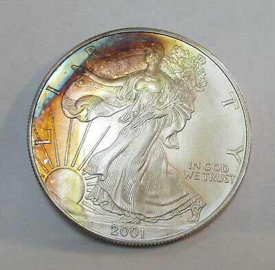 2001 American Silver Eagle 1 Oz .999 Fine Silver Coin - 2 Sided Rainbow Toning