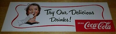 1952 Coca Cola Try Our Delicious Drinks Channel Card Cardboard Sign