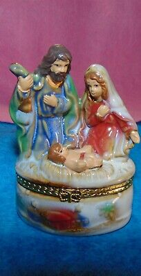 Hinged Trinket Box phb - Christmas Nativity w/ Jesus, Mary and Joseph