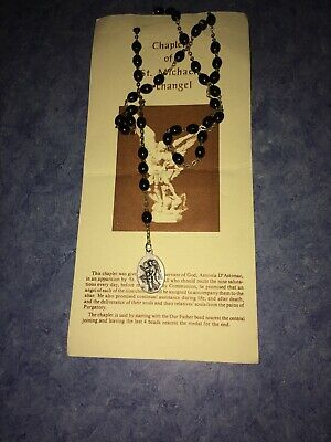 Vintage Rosary Necklace From Chaplet Of St Michael Archangel Beautiful Un Worn