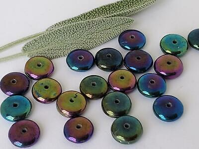 Vintage Iridescent Peacock Scarab Beetle Colors Small Glass Rondelle Beads