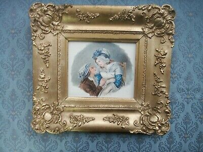 Old Antique French Watercolour Miniature Portrait Painting 1848 Victorian Frame