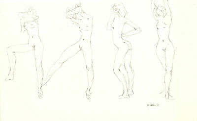 Peter Collins ARCA - Signed 1988 Graphite Drawing, Four Standing Nudes