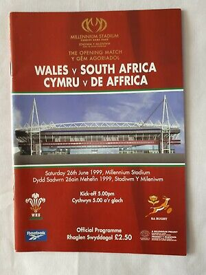 Wales v South Africa (official programme) - 1999 Rugby World Cup - VGC