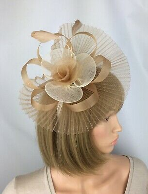 Champagne Gold Fascinator Nude Beige Hatinator Wedding Ladies Day Ascot Races