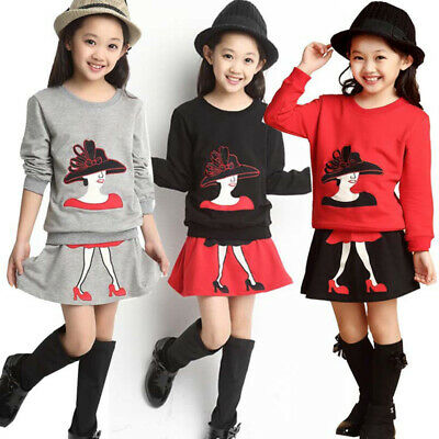 Child Toddler Kids Girls Outfits Clothes Long Sleeve T-shirt Tops+Skirt 2PCS/Set