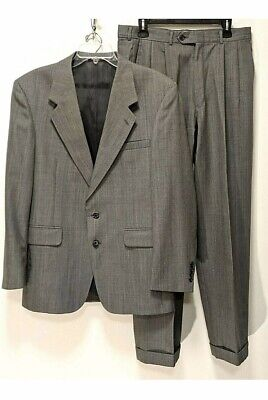Mens 2 Piece Wool Suit 40R, 34 x 31,  Gray Pinstripe by  Evan-Picone
