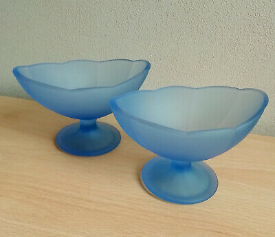 Pair of Italian Frosted Blue Glass Sundae Dishes