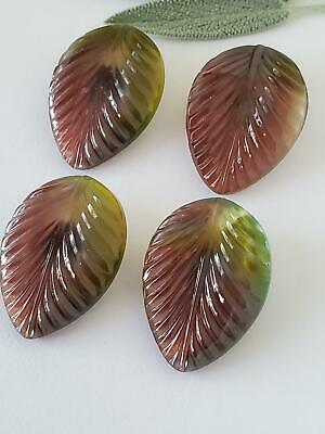 Vintage Pretty Two Tone Glass Leaf Leaves German Large Buttons Sewing Sew