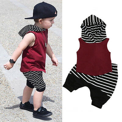 Toddler Infant Kids Baby Boy Hooded Tops Shorts Pants 2pcs Outfits Clothes Set