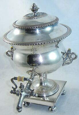 Antique Silver Plated Hot Water Coffee Tea Samovar Urn w Tap Dispenser  h287