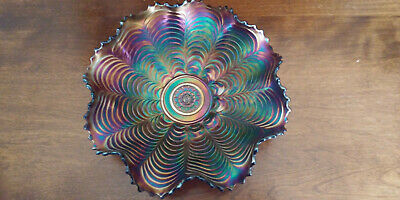 Antique Northwood* Purple Carnival Glass NIPPON Ruffled Bowl * Gorgeous Color