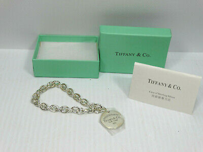 """Genuine Please Return To Tiffany & Co. Sterling Silver Round Tag 7"""" Bracelet New"""
