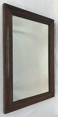 Antique Early 20th C Primitive Arts & Crafts Mission Oak Frame Shaving Mirror