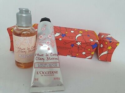 L'Occitane Cherry Blossom Hand Cream Bath & Shower Gel Christmas Cracker Duo