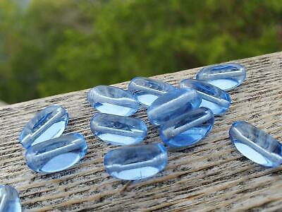Vtg 25 BLUE AB GIVRE ASSEMBLED DROP BEADS GLASS TABLE CUT  30mm #100514w