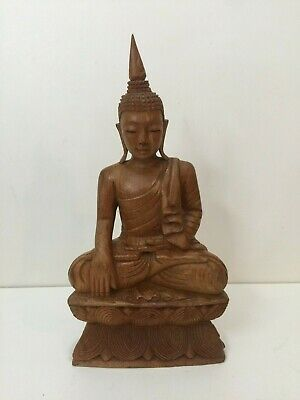"Vintage Chinese Wooden Hand Carved Buddha Statue Figurine, 14"" Tall x 7"" Widest"