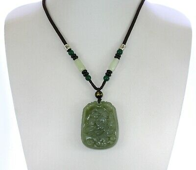 "2.2"" China Certified Nature Hetian Nephrite Green Jade Fortune Five Rat Necklace"
