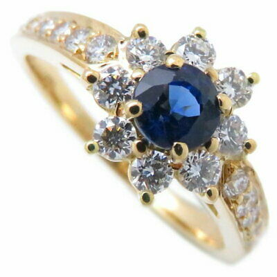 Auth TIFFANY & CO. 18K Yellow Gold Sapphire Diamond Flora Ring #4.5-5 /092029