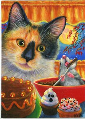 Aceo Halloween Calico Cat Kitchen Cook Bake Pumpkin Chocolate Cake Mice Painting