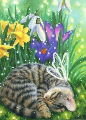 Aceo Gray Tabby Kitten Cat Fairy Sleeping Crocus Daffodils Garden Painting