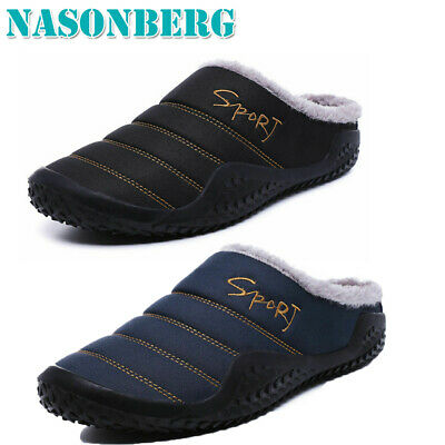 Nasonberg Mens Winter Flat Slippers Warm Fur Slip on Cozy Bedroom House Shoes