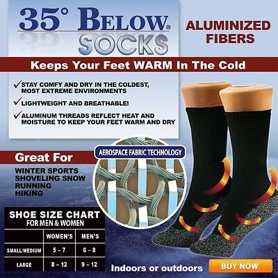 35 Below Socks Keep Your Feet Warm and Dry  Thin Black-L As Seen On TV NEW
