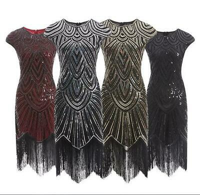 1920s Flapper Costume Great Gatsby Party Fancy Prom Evening Cocktail Dress UK