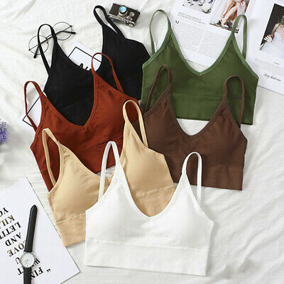 Women's Crop Top Bralette Bra Bustier Sexy Padded Push Up Tank Top Sports xh