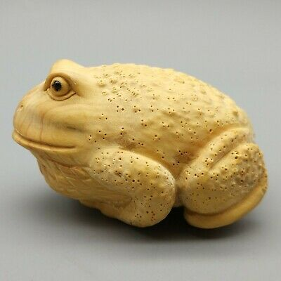 Hand Carved Japanese Boxwood Netsuke Round Frog Toad Handy Wood Carving Figurine