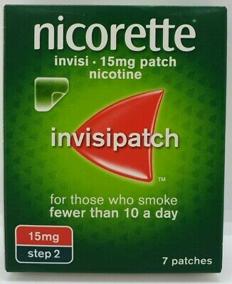 Nicorette Step 2 Invisi 15 mg 7 Patches (InvisiPatch) - BRAND NEW & IN DATE