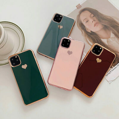 For iPhone 11 Pro Max XS XR 8 7 Plus 6 Plating Heart Glossy Soft Back Case Cover