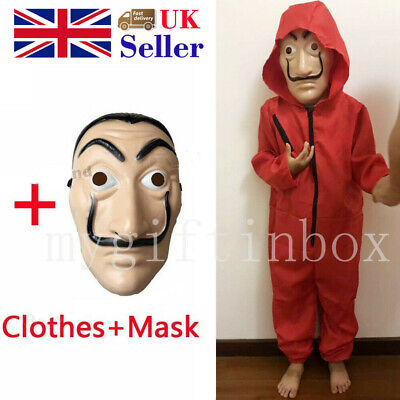 Halloween Salvador Dali Money Heist The House of Paper Children Mask Cosplay Red
