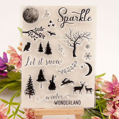 Xmas Tree elk Sparkle Silicone Stamp Seal Scrapbooking Photo Album Decorative~GN
