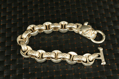 Asian tibet silver hand carved dog's head bracelet collectable noble gift