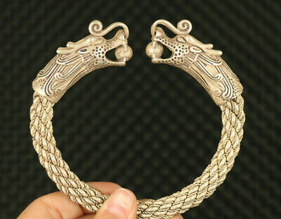 China old Tibet silver hand carved pair dragon eat bead bracelet noble gift