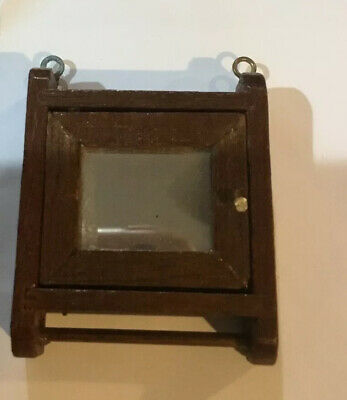 Vintage Dollhouse Miniature Wood Medicine Cabinet With Mirror
