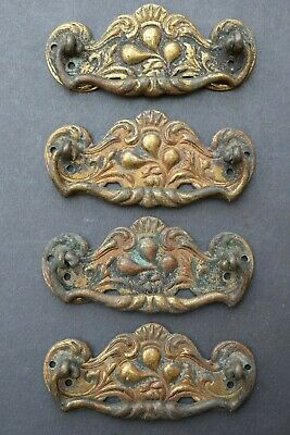Set 4 Victorian Brass Drawer Pull Handles old vintage chest reclaimed antique