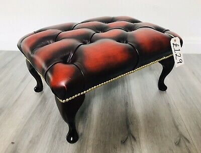 💥 Chesterfield Buttoned Antique Red Leather Footstool