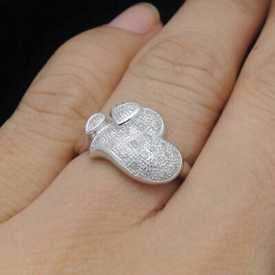 SALE Solid 14K White Gold Pave Diamond Jewelry Fine Ring Engagement Unique Band