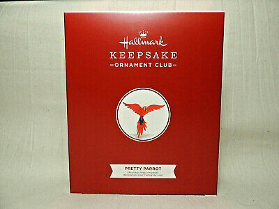 Hallmark 2018 Ornament Pretty Parrot Scarlet Macaw Bird Member Exclusive