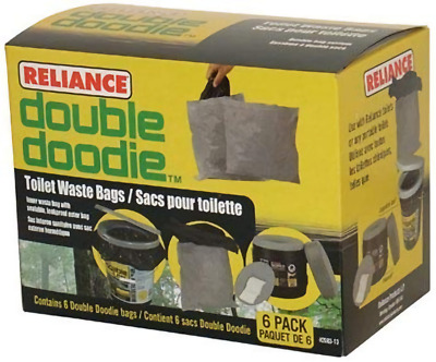 Camping Double Doodie Toilet Waste Bag Outdoor Portable Toilet Accs 6 Pack