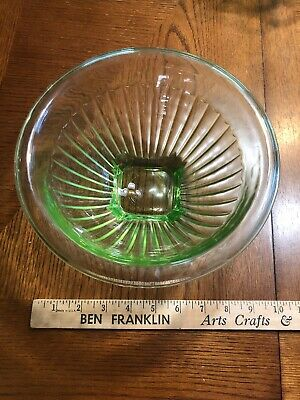 Vintage Green Depression Glass Ribbed  Mixing Bowl  w/Square Base & Rolled L