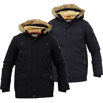 Brave soul Childrens Boys Winter Parka Coat Fur Borg Lined Hood School Jacket