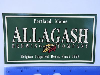Beer STICKER ~ ALLAGASH Brewing Co Belgian Inspired ~ Portland, MAINE Since 1995