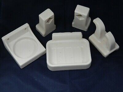 5PC Vintage White Porcelain Bathroom Fixtures-Cup-Towel Bar Holders-Soap-Hanger