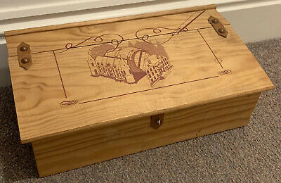 Empty Unusual Chest Style Wooden Wine Box Hinged With Leather Clasp Storage Box